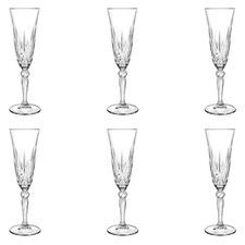 Melodia 160ml Glass Champagne Flutes (Set of 6)