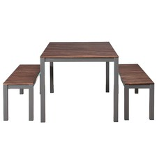Corsica 3 Piece Timber Outdoor Dining Set with Benches