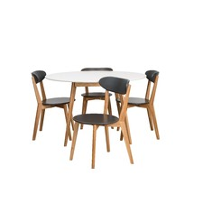 Oslo White Round 5 Pce Dining Set