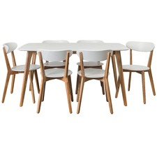 Long White Oslo 7 piece Dining Set