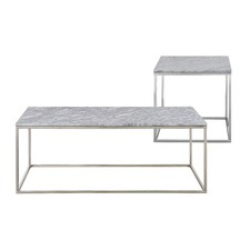 Annecy White Marble Coffee & Side Table Set