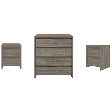3 Piece Dark Oak Nova Chest of Drawers & Bedside Tables Set