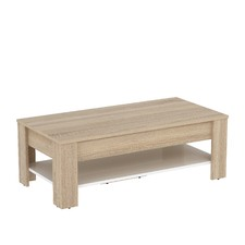 Light Oak & White Montreal Coffee Table with Lift Top Lid