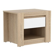 Light Oak & White Montreal Bedside Table