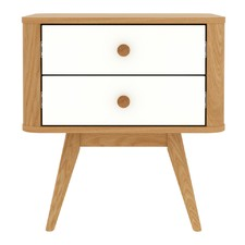 Stockholm Bedside Table in Eggshell White and Oak - 2 Drawers
