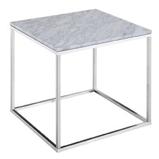 Annecy White Marble Side Table