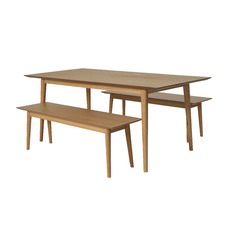 3 Piece Camden Oak Dining Table Set