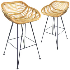 66cm Kylie Rattan Barstools (Set of 2)