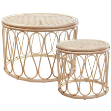 2 Piece Loop Rattan Coffee & Side Table Set