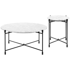 2 Piece White Tuscany Coffee & Side Table Set