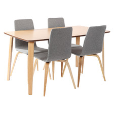 4 Seater Natural Regal Dining Table & Chairs Set (Set of 5)