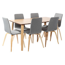 6 Seater Natural Regal Dining Table & Chairs Set (Set of 7)