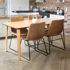 4 Seater Natural Regus Dining Table & Chairs Set