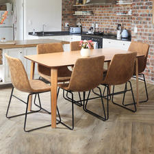 6 Seater Natural Regus Dining Table & Chairs Set
