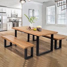Millbrooke Live Edge Oak Wood Dining Table & Bench Set