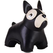 Black Classic French Bulldog Faux Leather Bookend