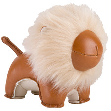 Tan Lion Puno Faux Leather Paperweight