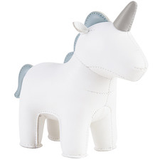 White Unicorn Faux Leather Paperweight