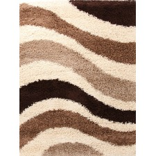 Cosmo Shag Ivory, Beige and Brown Shag Rug Waves