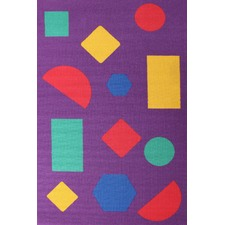 Shapes Purple Rubber Backed Kids Rug