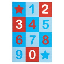 Numbers Blue Rubber Backed Kids Rug