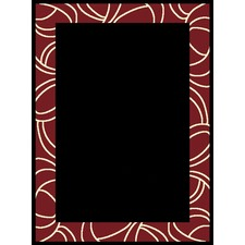 Viva Modern Black/Red Border Rug R11