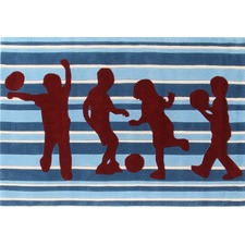 Funky Striped Kids Blue Tufted Rug