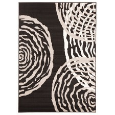 Viva Modern Black with Kahki/Yellow Circles Rug