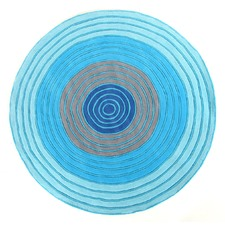 Blues Dartboard Ripple Rug