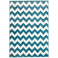 Blue & White Zig Zag Indoor Outdoor Rug