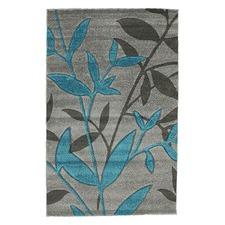 Stunning Spring Leaf Rug Grey Blue