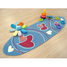 Surfboard shaped Rug in Blue Hearts and Swirls