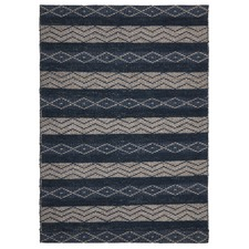 Arelius Scandinavian Style Wool and Jute Blue and Natural Rug