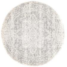 Bone, White & Silver Round Art Moderne Cezanne Rug