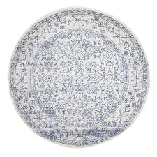 White & Bone Round Art Moderne Belle Rug