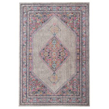 Grey Power Loomed Distressed Modern Rug