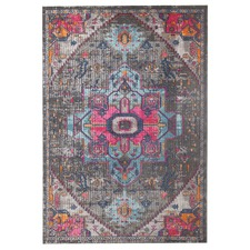 Grey & Pink Power Loomed Distressed Modern Rug
