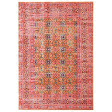 Rust & Pink Power Loomed Distressed Modern Rug