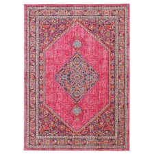 Pink Power Loomed Distressed Modern Rug