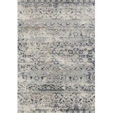 Leila Blue & Cream Chenille Cotton & Silky-finish Modern Rug