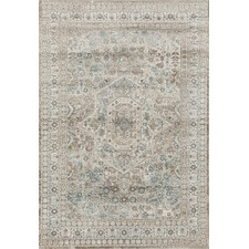 Mitzi Blue & Cream Chenille Cotton Modern Rug