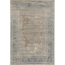 Dusty Beige, Cream & Navy Chenille Cotton & Silky-finish Modern Rug