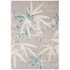 Ice Blue Lila Bamboo Power Loomed Easy Care Modern Rug