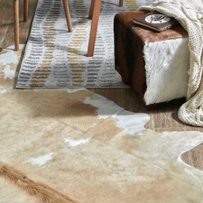 Beige & White Cow Hide Rug