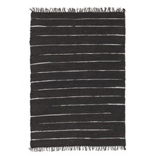 Saville Jute and Leather Black Rug