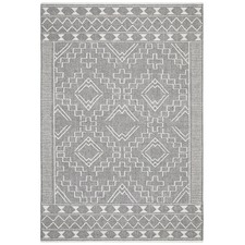 Grey & Natural White Textured Ida Rug