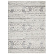 Natural White & Grey Textured Alva Wool Rug