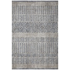 Charcoal, Navy & Natural Distressed Rug