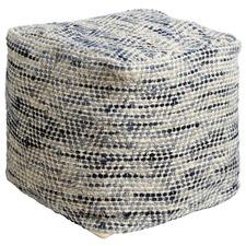 Denim Blue Woven Wool Ottoman