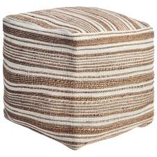 Terracotta Stripy Wool & Jute Ottoman